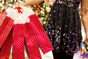 A woman holiday holiday shopping bags